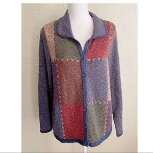 Christopher & Banks Vintage Hand Embroidered Botton Down Sweater Multi Color L